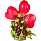 Spectacular 3 Red Heart Shaped Balloons and Flashy 20 Roses Arrangement