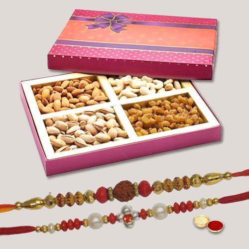 Divine Pavitra 2 Rakhi Set With Dry Fruits