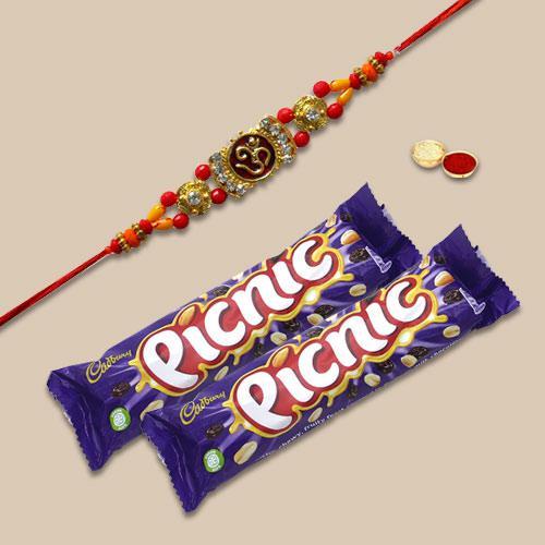 Trendsetting Gift of One Rakhi with 2 Picnic Chocolate Bars