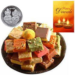 Succulent Assorted Sweets With Silver Plated Coin And Diwali Card