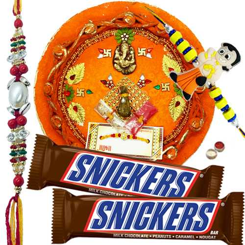 Beauteous Combo Of Bhaiya N Kid Rakhi With Rakhi Thali N Snickers