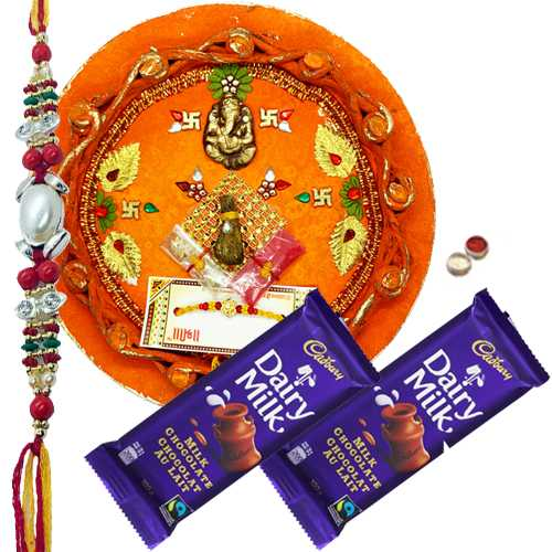 Attractive Rakhi Thali With 1 Rakhi N Dairy Milk