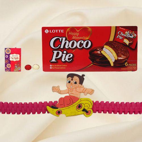 Delicious Choco Pie Box  with Sweet  free Kids Rakhi, Roli Tilak and Chawal