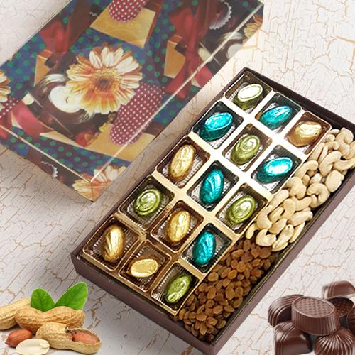 Appetizing Assorted Homemade Chocolates with Assorted Dry Fruits