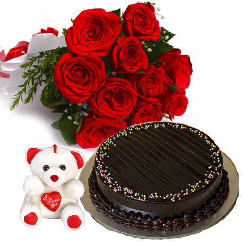 Enchanting Red Roses Bouquet with Chocolaty Truffle Cake & Small Teddy