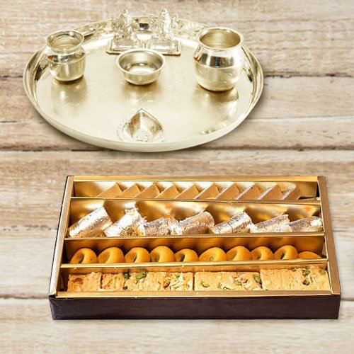 Silver plated Puja Thali with Silver Plated Lakshmi Ganesha with Haldiram's Assorted Sweets