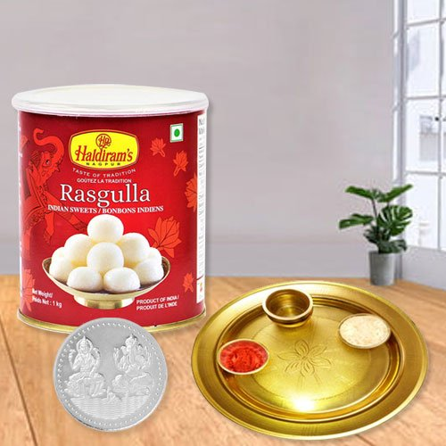 Rosgulla N Gold Plated Thali , Free Coin