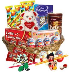 Comforting Kids Chocolates with 2 Kids Rakhi and Roli Tilak Chawal
