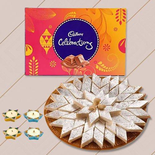 500 Gms. Kaju Katli , Cadburys Celebration Pack, 4 Wax Diya