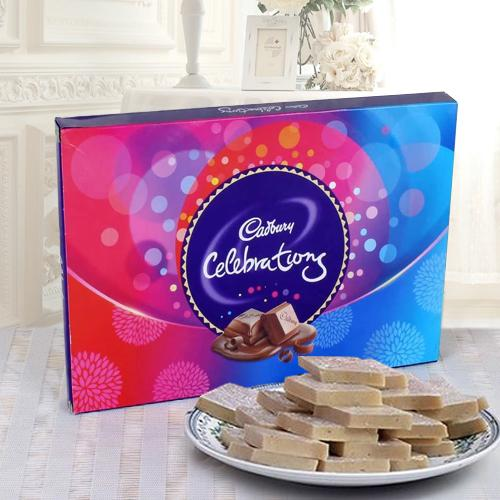 Haldirams Kaju Katli and a Box of Cadburys Celebrations