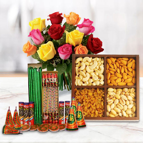 Bizarre Collection of Dry Fruits, 12 Pcs Mixed Roses and Crackers