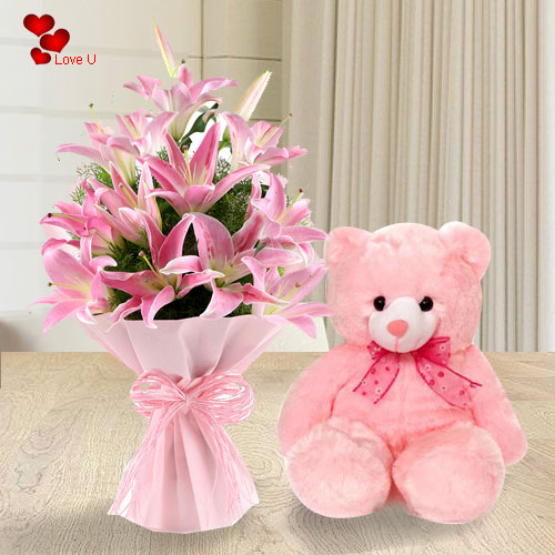 Send Rose Day Gift of Pink Lilies Bouquet with Teddy