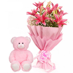 Gift Combo of Cute Teddy with Pink Lily Bouquet