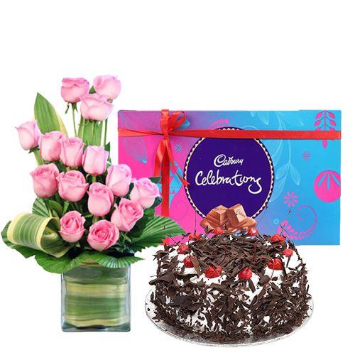 Perfect Combo of Cake, Pink Rose Arrangement with Cadbury Celebration