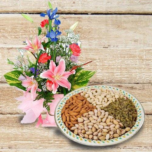 Outstanding Assorted Dry Fruits with Flowers