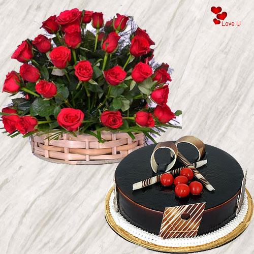 Deliver Red Roses Basket N Chocolate Cake Online