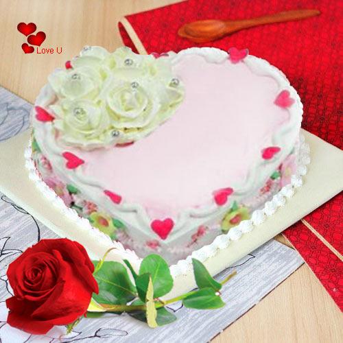 Gift Online Heart Shape Cake N Single Red Rose
