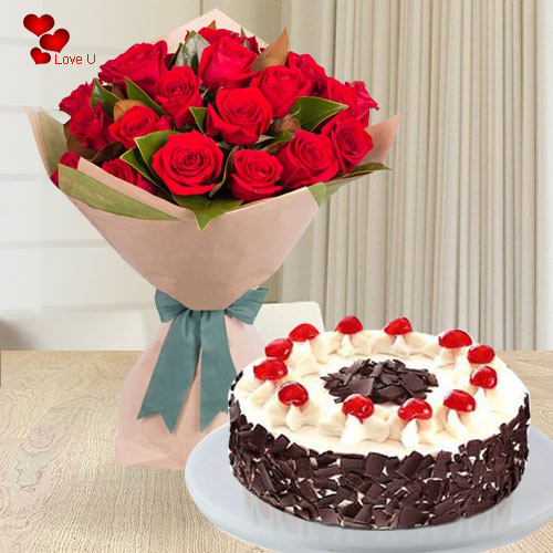 V-Day Gift of Red Roses Bouquet N 5 Star Bakery Cake Online
