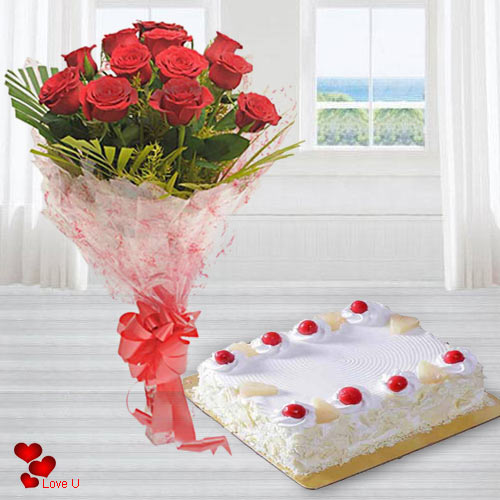 Send Red Roses Bouquet N Eggless Cake for V-Day