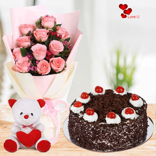 Valentines Day Gift of Pink Roses with Teddy N Cake