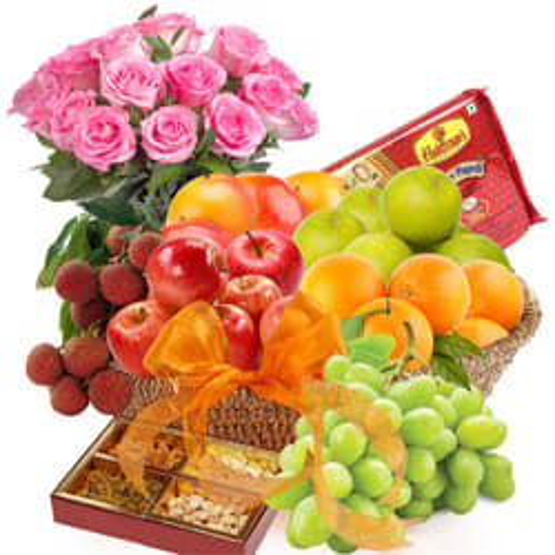 Tantalizing Fresh Fruits-Haldiram Soan Papdi Basket Hamper with Rose Bouquet