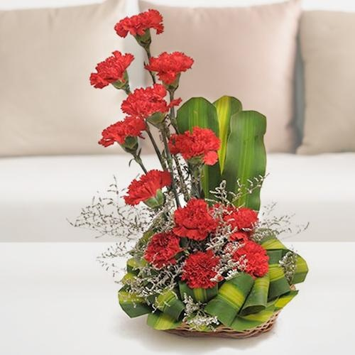 Smarty 12 Carnations Arrangement in Red and Pink