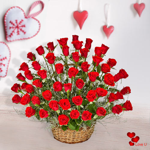 Book Online 51 Dutch Roses Basket for Her