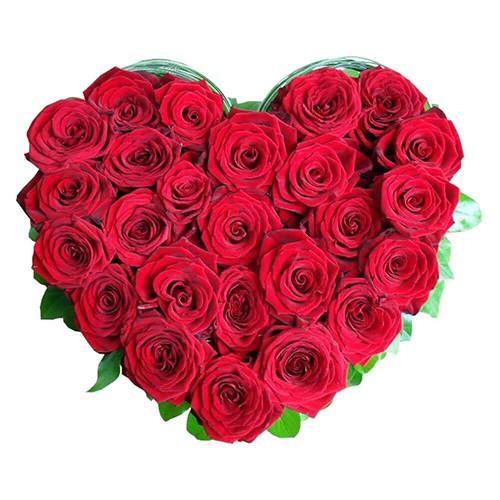 Deliver Heart Shape Red Roses Arrangement Online