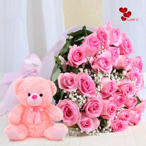 Send Online Pink Roses Bouquet N Teddy for Promise Day