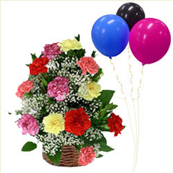 Charming Best Wishes Mixed Carnations Basket with Balloons