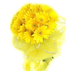 Unique Yellow Coloured Gerberas Arrangement