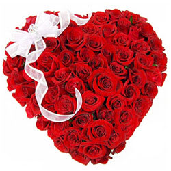 Thrilling Heart Shaped Red Rose Bouquet