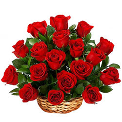 Ever-Budding Romance with Red Roses in a Basket