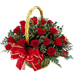 Sun-Kissed Assemble of Red Roses in a Basket