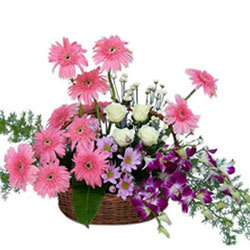 Simply Stunning Premium Arrangement of Flowers in a Basket
