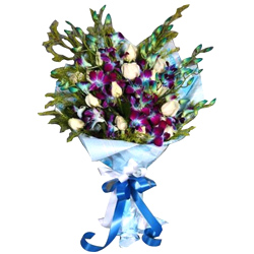 Enchanting White Roses & Orchids Bouquet