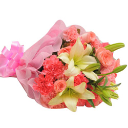 Captivating Pink Carnations, Lily Stems nd Pink Roses Bouquet
