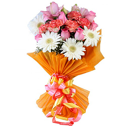 Unique Bouquet of Gerberas, Carnations and Roses