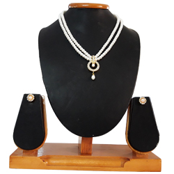 Exotic Double Line White Pearl Necklace Set with Dropping Pearl Pendent  N  Matching Earrings