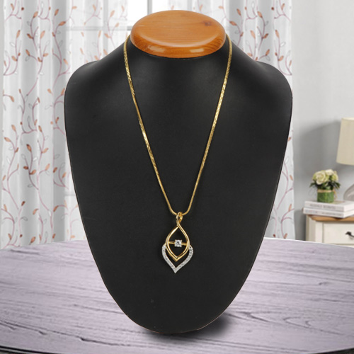 Superb Fernanda Pendant with Golden Flame Necklace