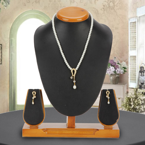 Admirable Necklace Set studded with AD Stones  N  Fashion Pearl