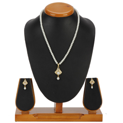 Enthralling Bell Designed Pearl Pendent Set with Matching Earrings