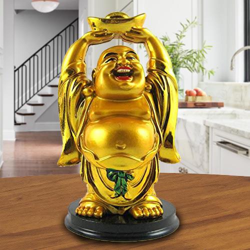 Extraordinary Standing Laughing Buddha Idol with Ingot