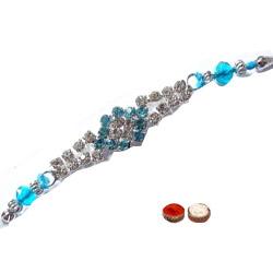 Gorgeous One Blue and White Stone Studded Rakhi