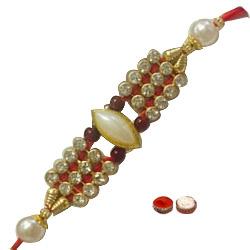 Elegant One Kundan n White Stone Rakhi