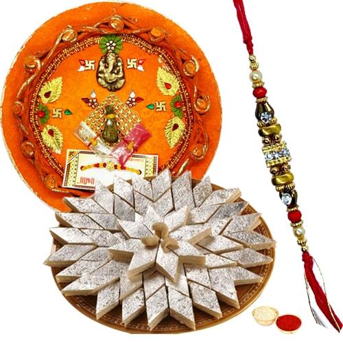Arresting Gift of Appetizing Kaju Katli <font color=#FF0000>Haldiram</font>s Sweet and Wonderful Pooja Thali