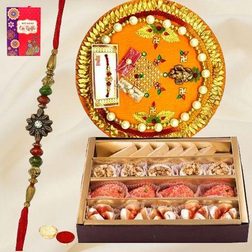 Tasty <font color=#FF0000>Haldiram</font> Mixed Sweets and Designer Rakhi Thali
