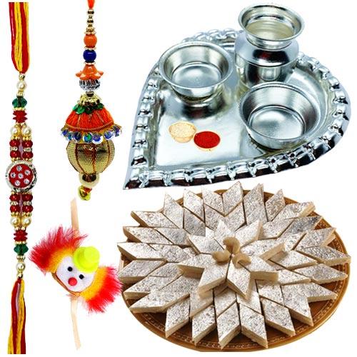 Holy Puja Aarti Thali with Kaju Katli and Rakhi