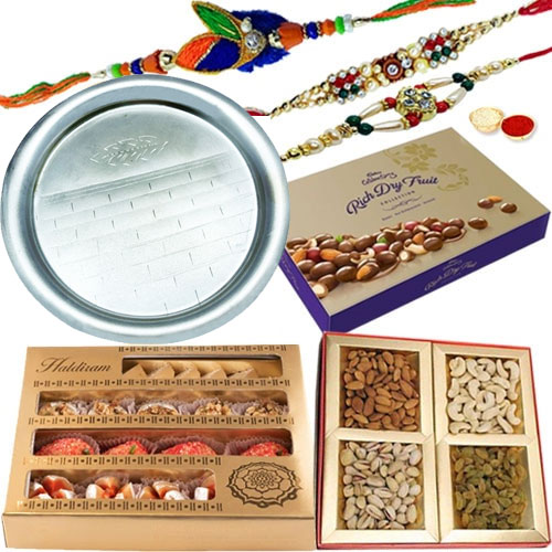 Cadbury Dry Fruit Box, Add 1 Designer Rakhin, <font color=#FF0000>Haldiram</font>s Assorted Sweets, Assorted Dry Fruits, Rakhi Thali, Free Rakhi, Roli & Tilak