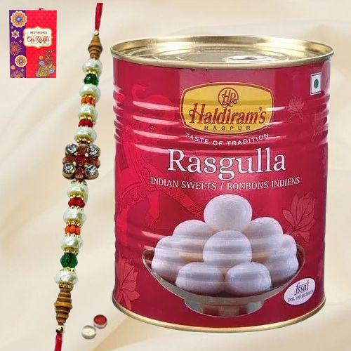Potent Rakhi Adornment of Haldiram Rasgulla and Designer Rakhi